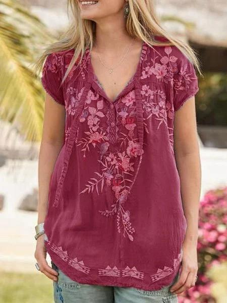 Boho Short Sleeve Blouses & Tops