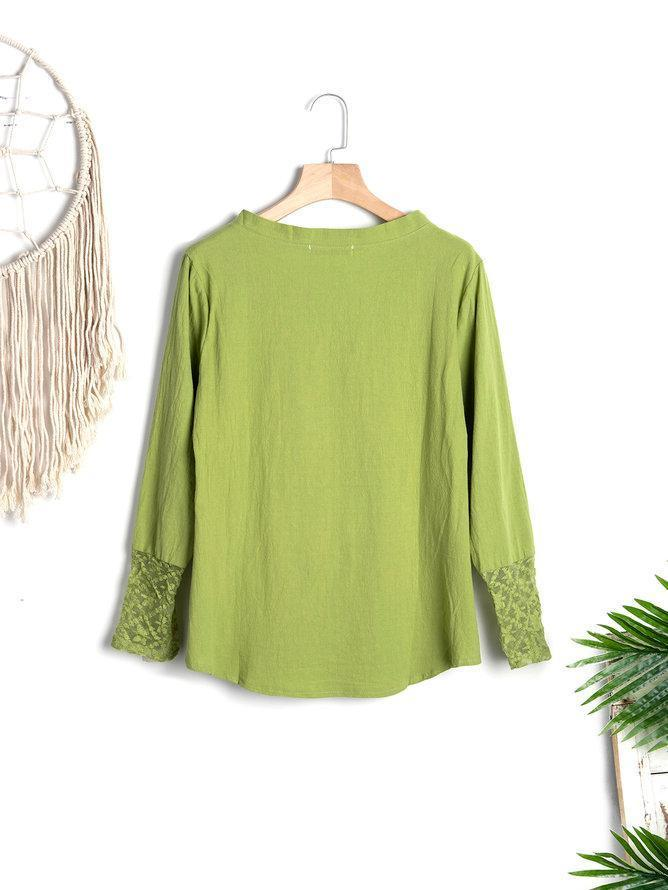 Women Boho Shirts Casual Long Sleeve Plain Crew Neck Shirt