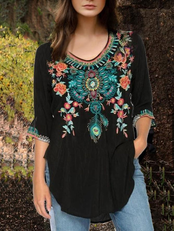 Floral-Print Tribal Boho Crew Neck Long Sleeve Blouses Shirts