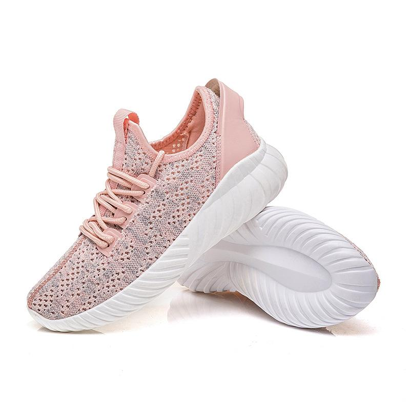 Womens All Season Flat Heel Fly-Woven Fabric Lace-up Sneakers