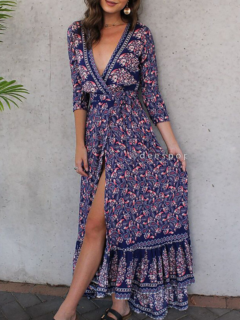 Purple Casual Printed Tribal Fall Dress