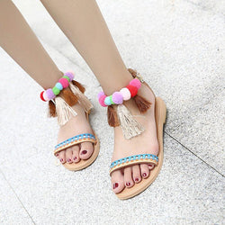 Women Tassel Flat Heel Summer Pu Casual Sandals