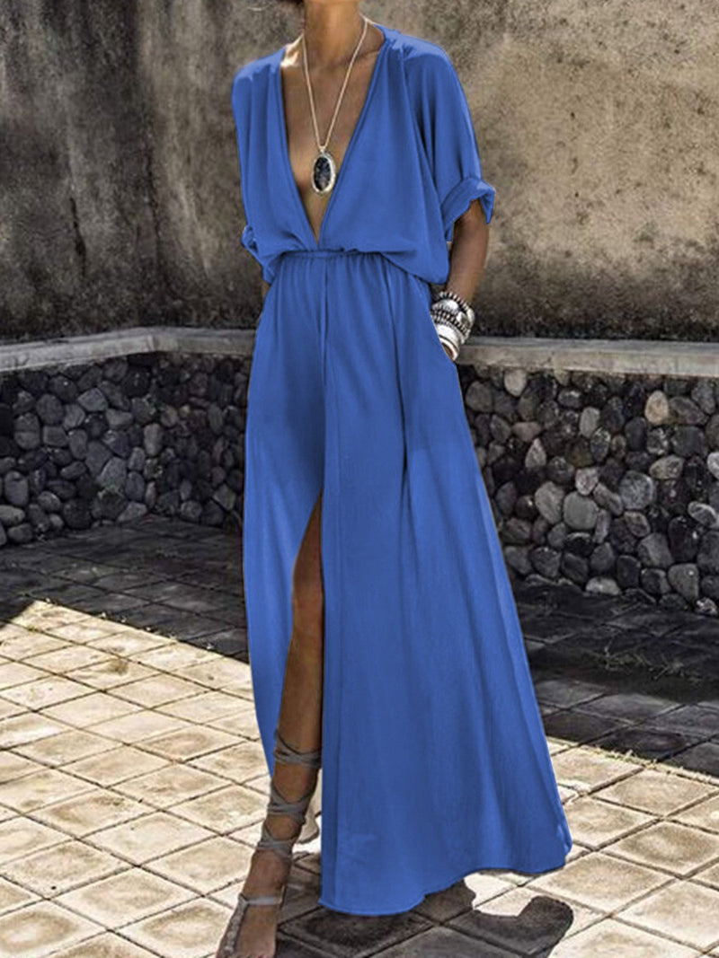 Plunging Neck Women Summer Dresses Daily Holiday Dresses