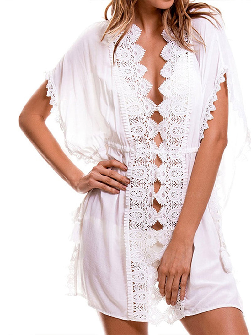 White Casual V Neck Cotton Dresses