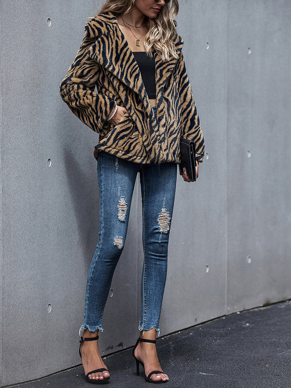 Fashion lapel tiger stripe printed thicken coat