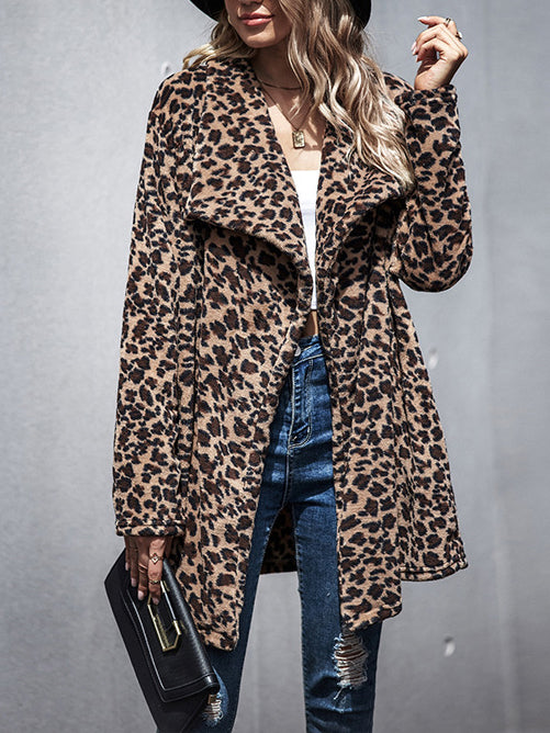 Chic leopard printed faux fur thicken long coat
