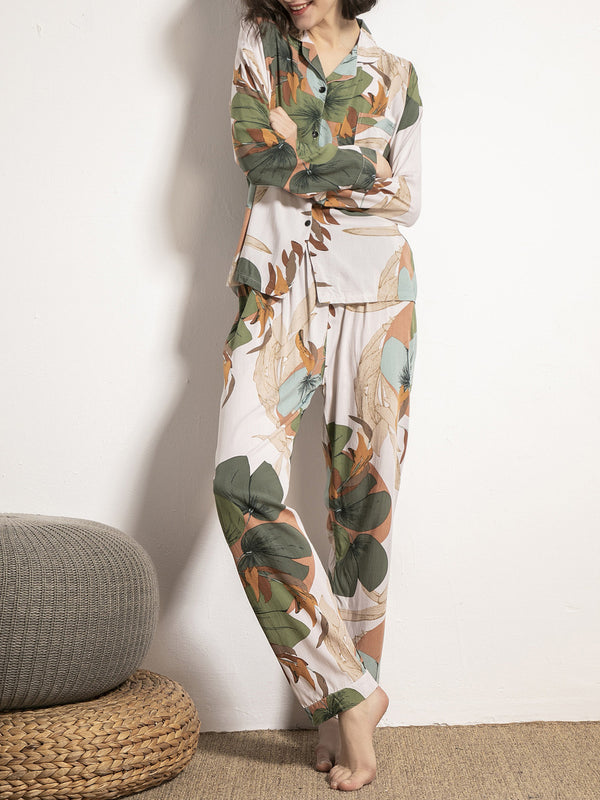 Daily soft printed button two piece suit pajamas