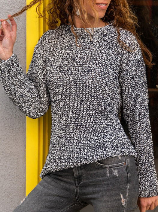Mixed color knitting round neck sweater