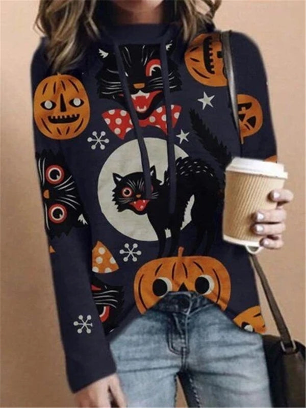 Pumpkin and cat printed holloween hoodie with hat