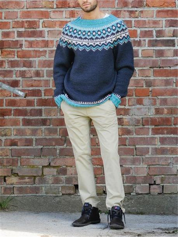 Men blue round neck knit sweater