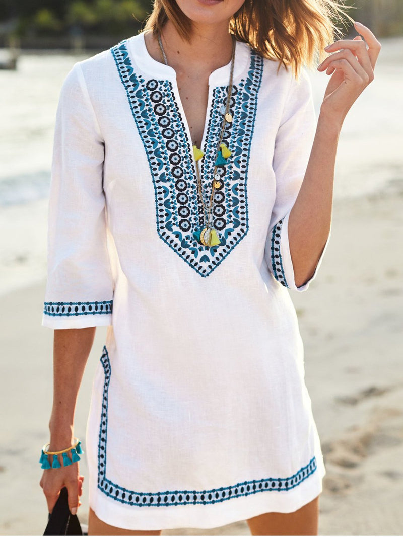 V neck White Women Summer Dress Shift Embroidered Tribal Dress