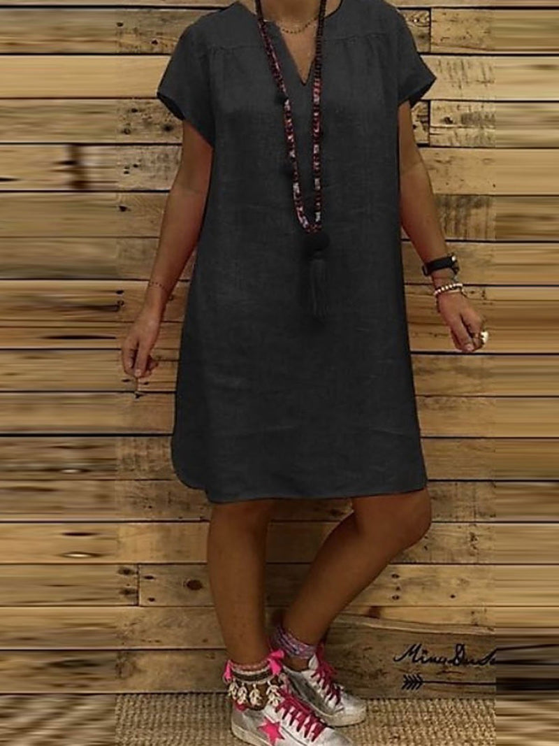 Casual Solid V-Neck  Dress