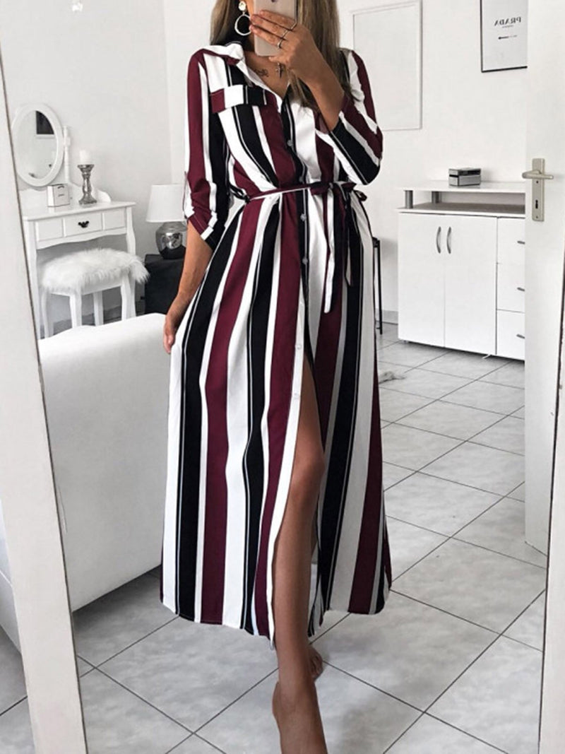 Women Fall Dresses Shift Daily Stripes Dresses