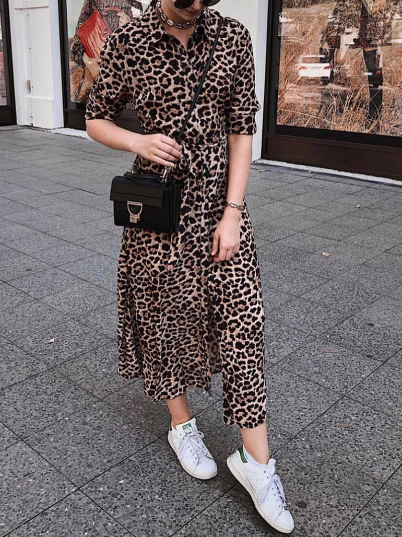 Shirt Collar Women Fall Dresses Shift Daily Leopard Print Dresses
