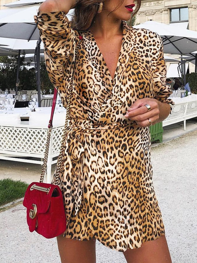 V Neck Women Casual Dresses Daily Leopard Print Dresses