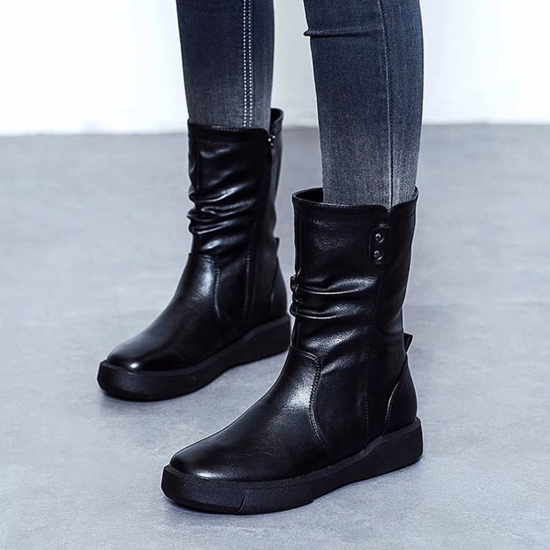 Women's Boots Round Toe Black Casual Boots