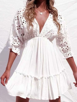 White Women Boho Mini Dresses A-Line Beach Paneled Dresses V Neck