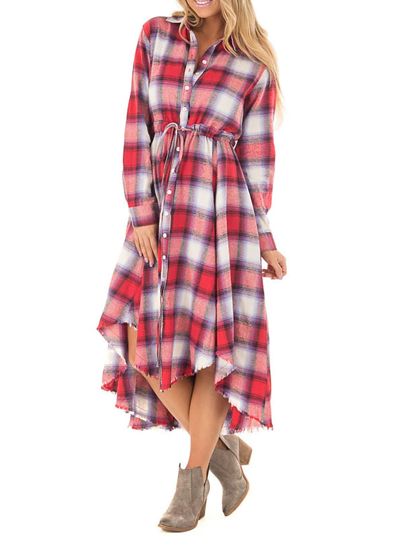 Shirt Collar Women Daily Long Sleeve Casual Pockets Gingham Fall Dress