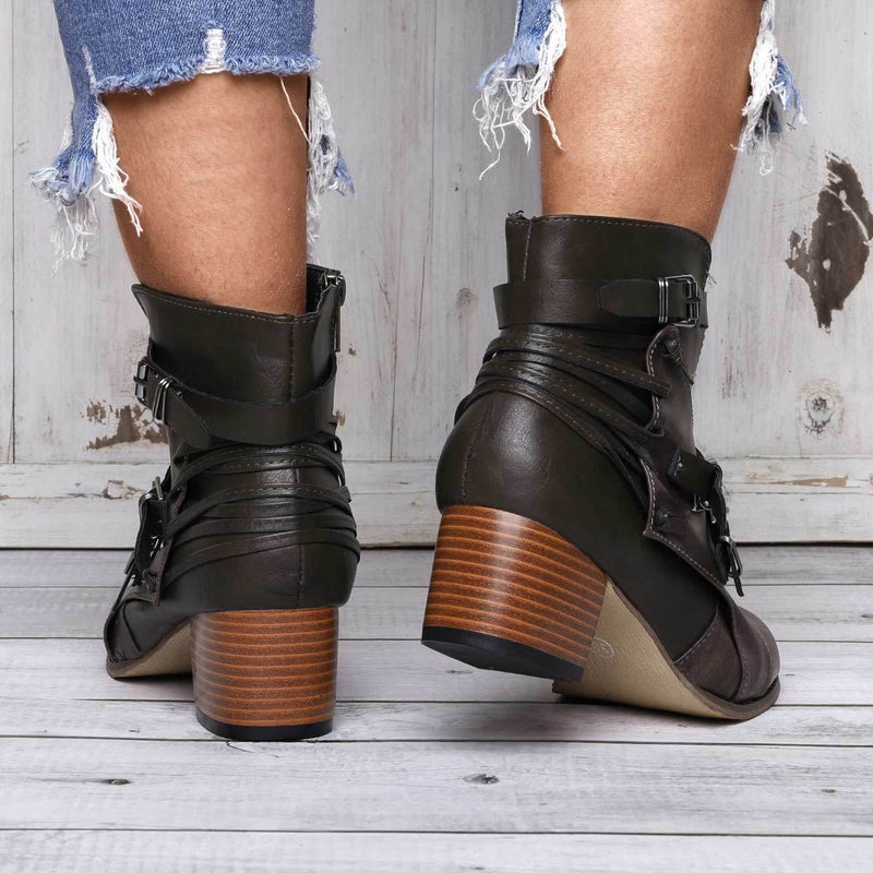 Women Vintage Booties Casual Artificial Leather Boots Comfort  Shoes