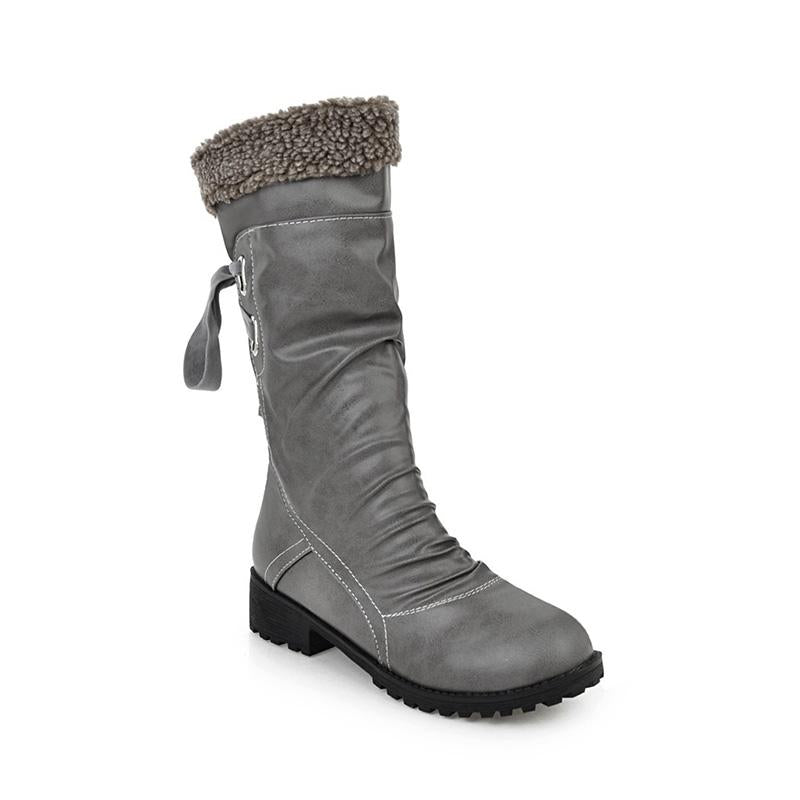 Womens Pu Casual Winter Snow Boots