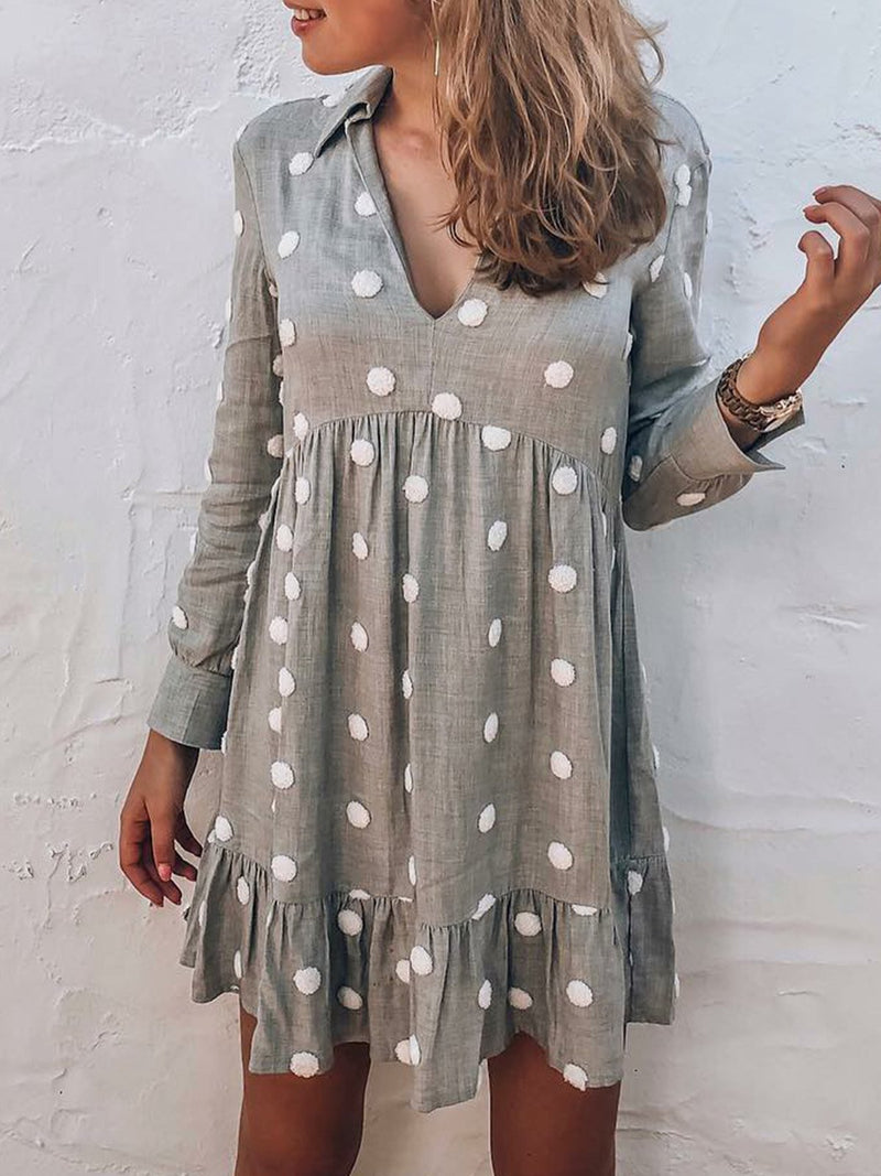 Women Dress Polka Dots Shirt Collar V-Neck Sweet Dresses