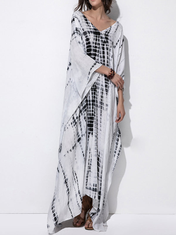 Plus Size White Printed Casual Abstract Maxi Dress