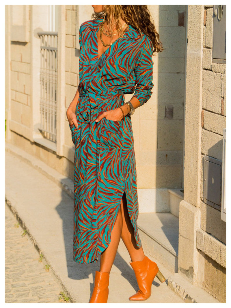 Appliqued Long Sleeve Chiffon Dresses