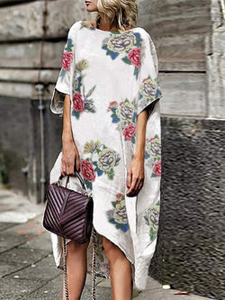 Vintage Floral Print Batwing Sleeve Dress