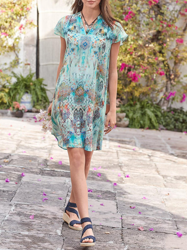 V Neck Cotton-Blend Short Sleeve Floral Dresses