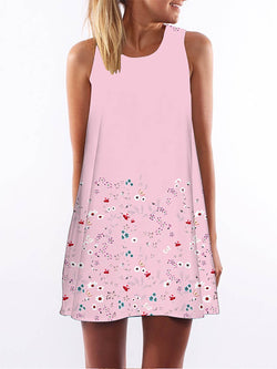 Pink  Women Going out Sleeveless Casual Paneled Floral Floral Dress