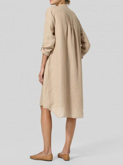 Solid Long Sleeve Turn-Down Collar Casual Dresses