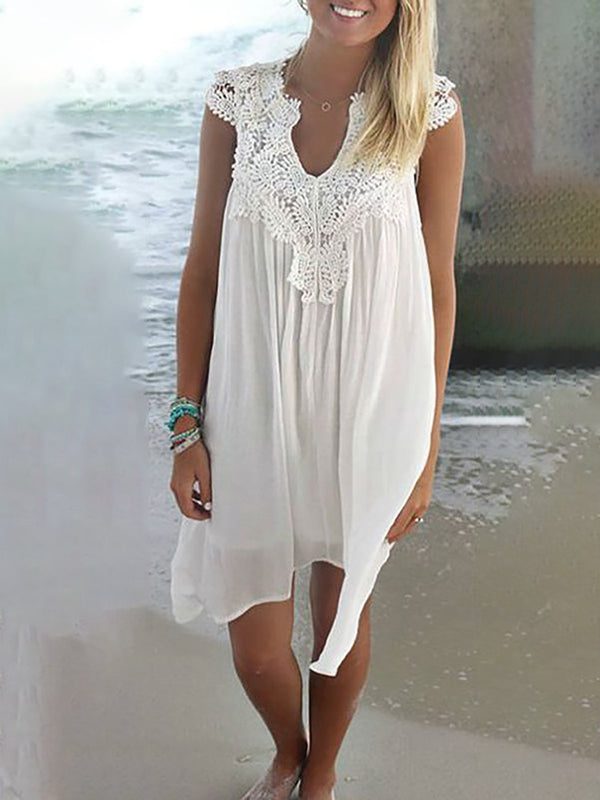 V neck  Shift Women Chiffon Sleeveless Plain Summer Dress