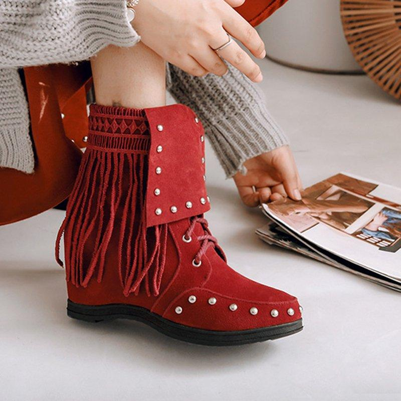 Women Vintage Booties Casual  Slip On Shoes