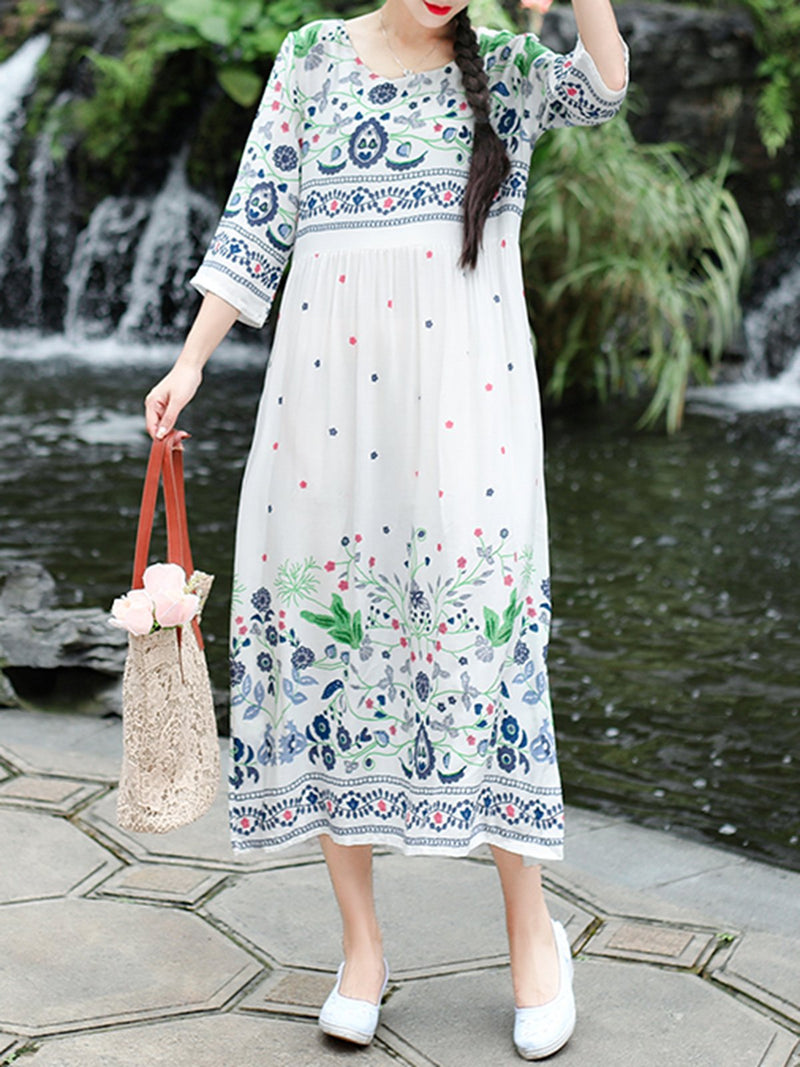 Plus Size 3/4 Sleeve Square Neck Holiday A-Line Printed Floral Maxi Dresses