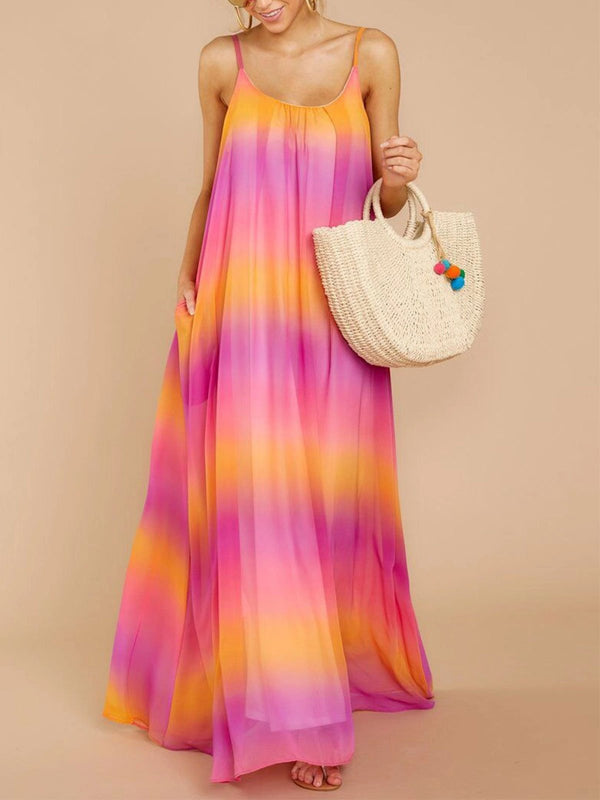 Women's Sleeveless Sexy Gradient Color Maxi Vacation Dresses