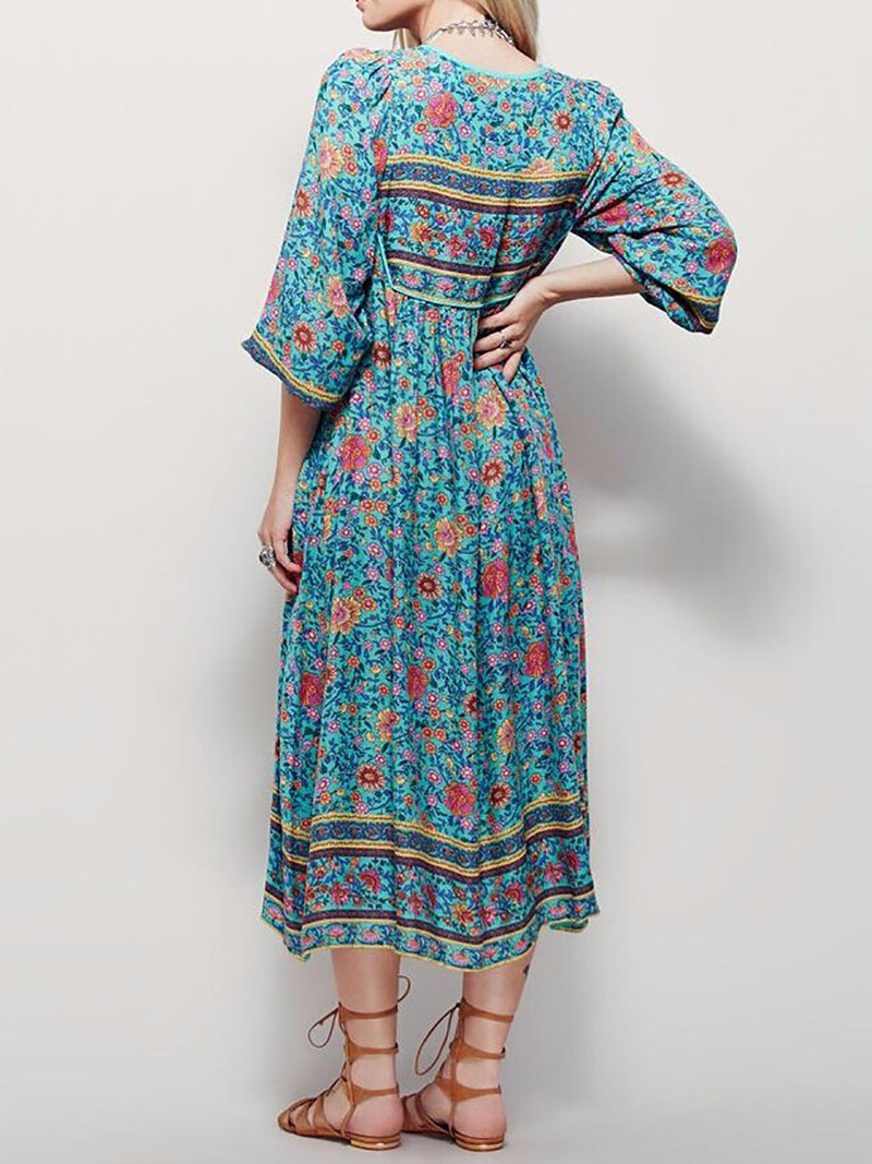 V neck Blue Asymmetrical Women Daytime Elegant 3/4 Sleeve Paneled Floral Floral Dress