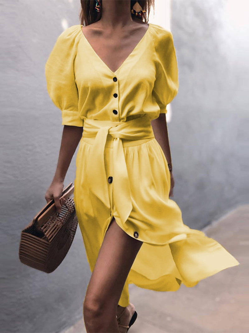 V-Neck Women Swing Holiday  Balloon Sleeve Slit Solid Dress
