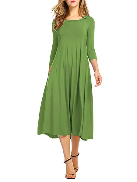 Women Swing Cotton Crew Neck Elegant Dresses