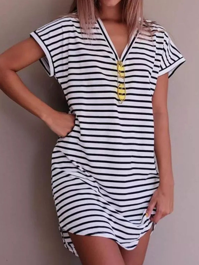 Stripes Asymmetric Beach Casual Women Summer Mini Dresses