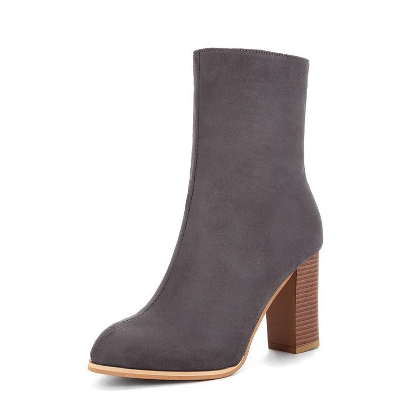 Womens Casual Chunky Heel Zipper Boots