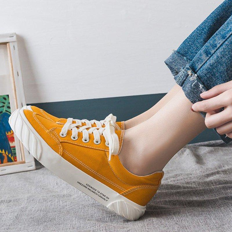 Women Yellow Lace-Up Fashion Sneakers