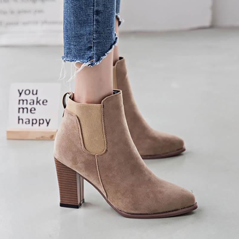 Womens Chunky Heel Casual  Pointed Toe Suede Boots