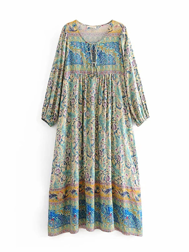 Lightgreen Tie-Neck Shift Beach Printed Midi Dresses
