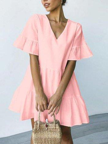 V Neck Sweet Short Sleeve Dresses