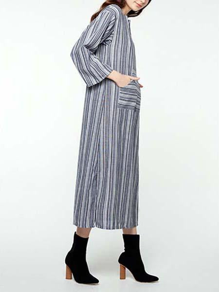V neck striped printed loose casual dress