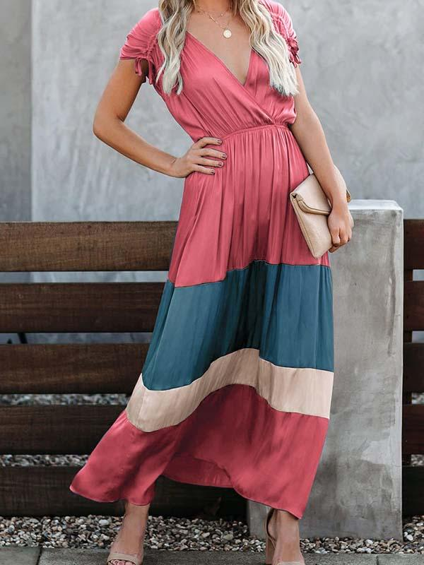 Fashion v neck plain color block loose vacation dress casual dress