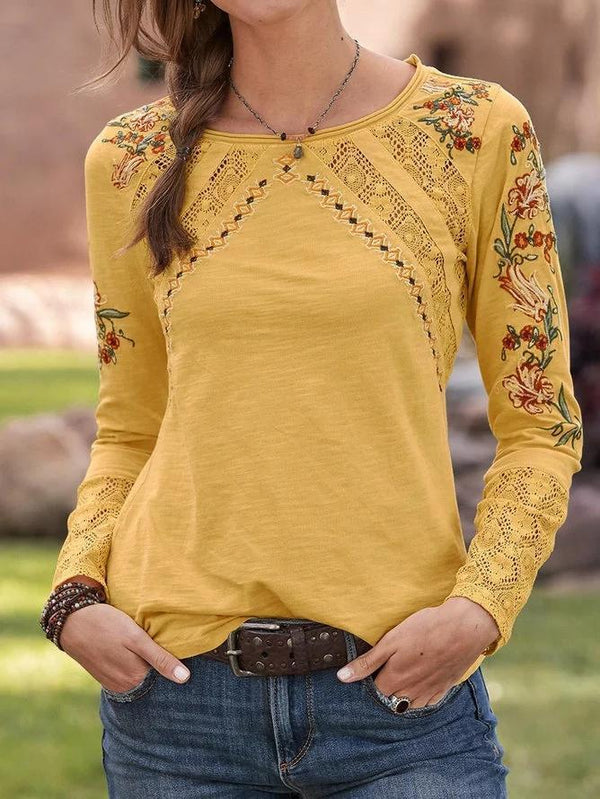Cotton-Blend Crew Neck Casual Floral Shirts & Tops