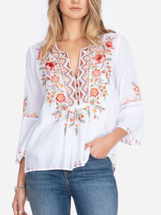 CHIC FLARE SLEEVE BOHO BLOUSE