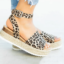 Women Summer Sandals Beach Platform Leopard Shoes
