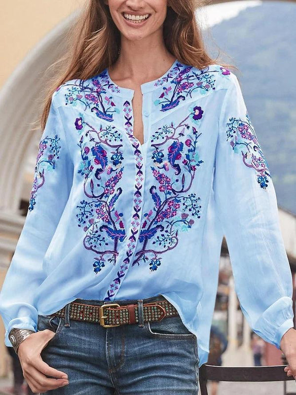 Casual V Neck Long Sleeve Shirts